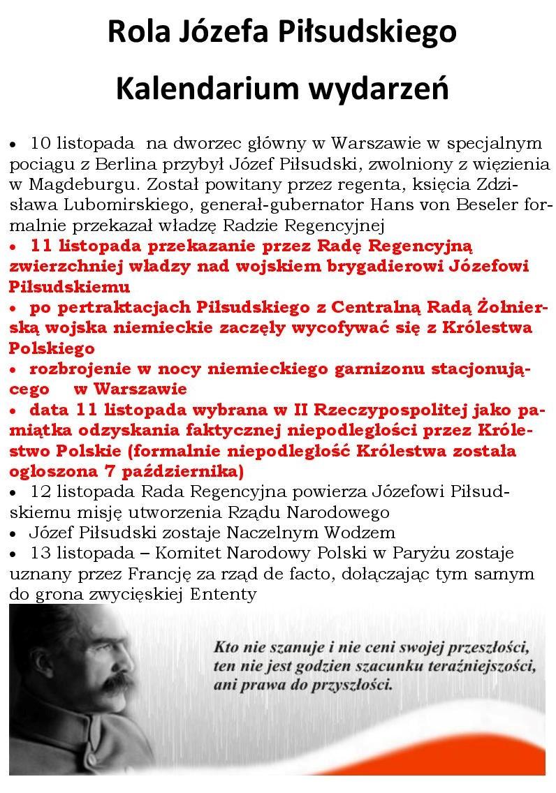 Rola Piłsudskiego - KALENDARIUM